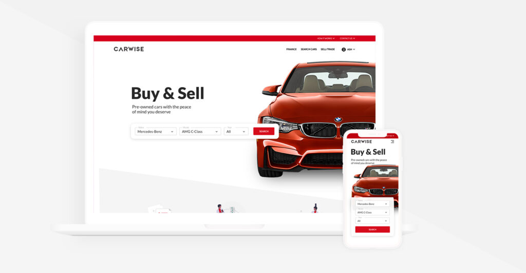 the responsive website homepage on a laptop and mobile devices