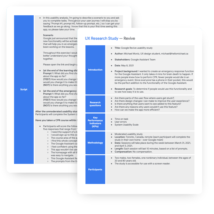 the usability test prep, complete with kpi's, scope, and interview transcript