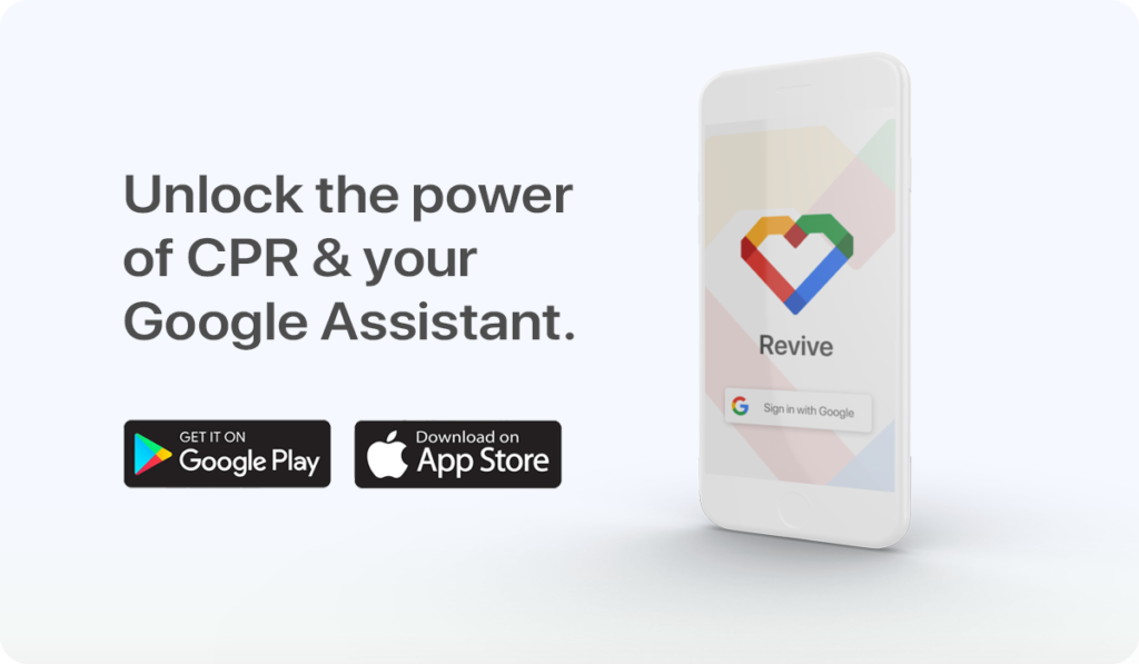 """the google play store advertisement that include text that says """"unlock the power of cpr and your google assistant"""""""